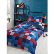 Check Single Duvet Set - Red & Blue