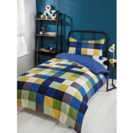 Check Single Duvet Set - Green & Blue