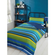 Striped Single Duvet Set - Green & Blue