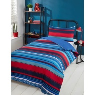Striped Single Duvet Set - Red & Blue