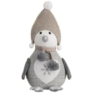 Plush Penguin Knitted Hat Ornament - Grey