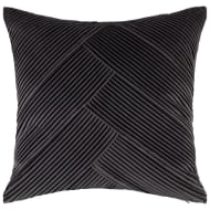 Pleated Velvet Cushion - Charcoal