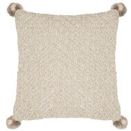 Knitted Faux Fur Pom Pom Cushion - Natural