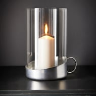 Glass Hurricane Candle Holder - Chrome