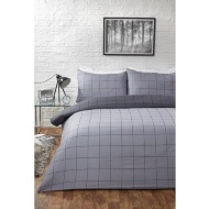 Check King Duvet Set - Charcoal