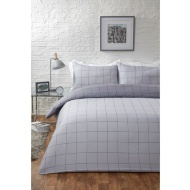 Check King Duvet Set - Grey