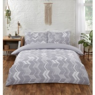 Chevron Double Duvet Set - Grey