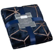 Karina Bailey Metallic Print Throw - Navy