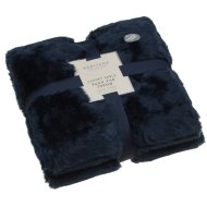 Luxury Sable Faux Fur Throw - Navy