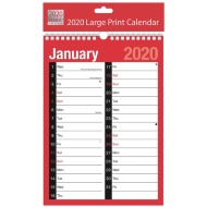 2020 Red & Black Large Print Calendar