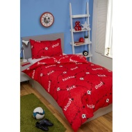Football Single Duvet Set - Red