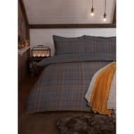 Check Brushed Cotton Double Duvet Set - Ochre