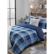 Cosy Check Brushed Cotton Double Duvet Set - Navy