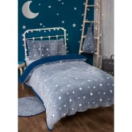 Glow in the Dark Stars Fleece Sherpa Single Duvet Set - Navy