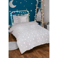 Glow in the Dark Stars Fleece Sherpa Single Duvet Set - Grey