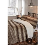 Faux Fur & Fleece Reverse Double Duvet Set - Brown