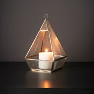 Glass Pyramid Tealight Candle Holder