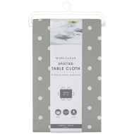 Wipe Clean Spotted Tablecloth - Grey
