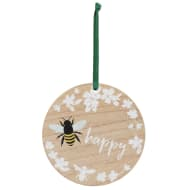 Bee Happy Wooden Hanging Plaque
