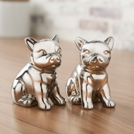 Mini Dog Salt & Pepper Shakers - Chrome