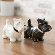 Mini Dog Salt & Pepper Shakers - Black & White
