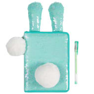 Reversible Sequin Bunny Notebook - Aqua