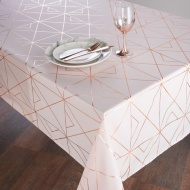 Metallic Printed Tablecloth 132 x 230cm - Blush