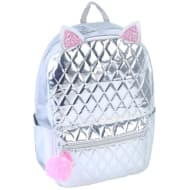 Shine Quilted Backpack - Silver