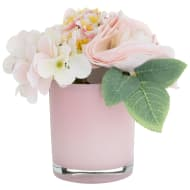 Vintage Foliage in Glass Vase - Pink
