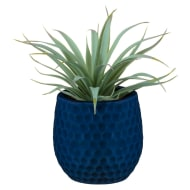 Artificial Hebe Plant in Ceramic Pot - Blue