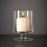 Glass Candle Holder with Pillar Candle
