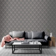 Indra Charcoal & Rose Gold Wallpaper
