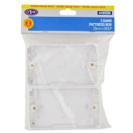 2 Gang Pattress Box - White 2pk