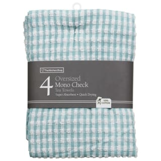 Mono Check Oversized Tea Towels 4pk - Aqua