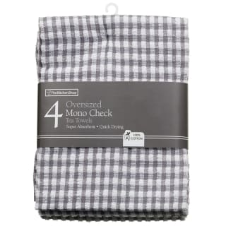 Mono Check Oversized Tea Towels 4pk - Grey