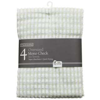 Mono Check Oversized Tea Towels 4pk - Green