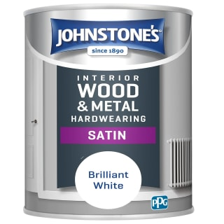 Johnstone's Hardwearing Satin Paint 750ml - Brilliant White