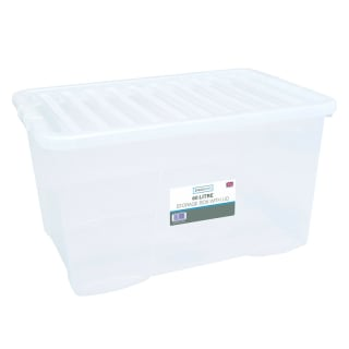Large Clear Storage Box with Lid 60L