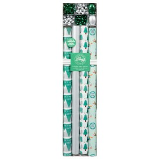 Luxury Foil Christmas Wrapping Paper & Bows - Green