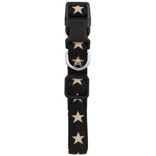 Pooch Couture Adjustable Dog Collar - Small - Black Star