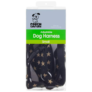 Pooch Couture Adjustable Dog Harness - Small - Black Star