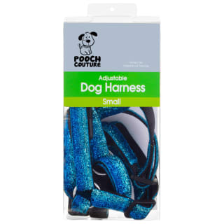 Pooch Couture Adjustable Dog Harness - Small - Blue Glitter