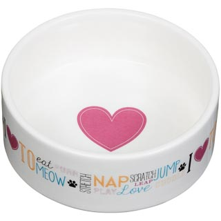 Small Ceramic Pet Bowl - Pink Heart