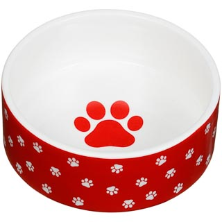 Small Ceramic Pet Bowl - Red Paw