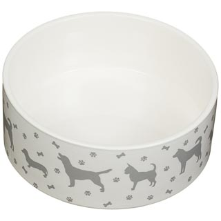 Large Ceramic Pet Bowl - Dog Silhouette