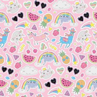 Kids Everyday Wrapping Paper 3m - Pink Characters
