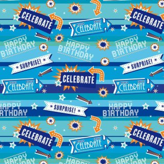 Everyday Wrapping Paper 3m - Happy Birthday Blue