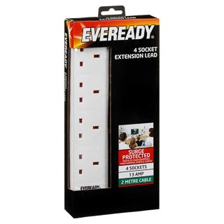 Eveready 4 Socket Surge Protected Extension Lead