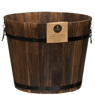Large Burntwood Barrel Planter