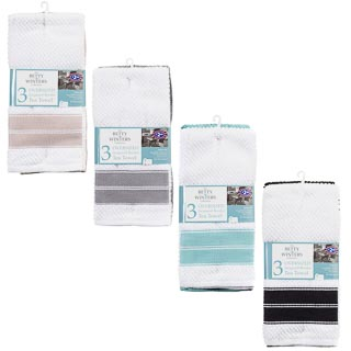 Oversized Jacquard Border Tea Towels 3pk